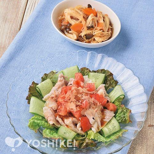 フレッシュトマトソースの豚しゃぶサラダ/焼ちくわと切干大根の煮もの