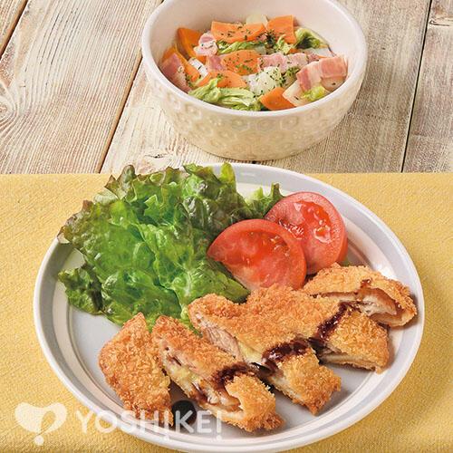 ミルフィーユチーズとんかつ/ベーコンと野菜のレンジ蒸し