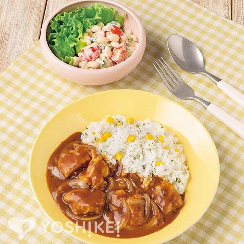 チキンハヤシライス/お豆のころころサラダ