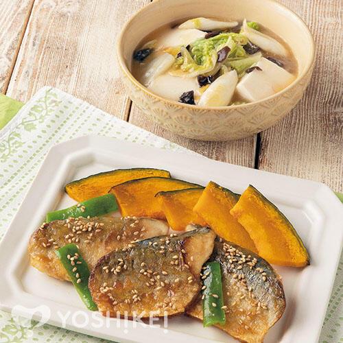 骨取りさばの甘辛焼き/豆腐と野菜の中華風うま煮