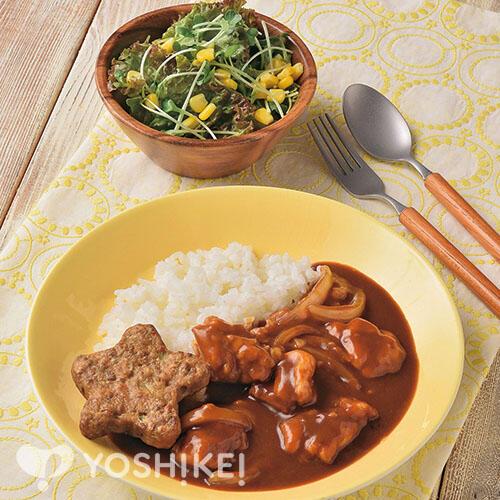 チキンハヤシライス~星のハンバーグ添え~/コーンサラダ