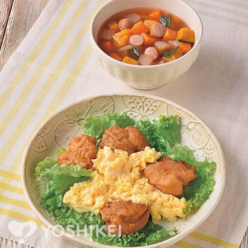 鶏から揚げのマヨたまソース/かぼちゃ入りミネストローネ