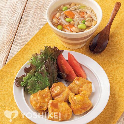 こどもも食べられる♪タンドリー風チキン/2種のお豆のスープ