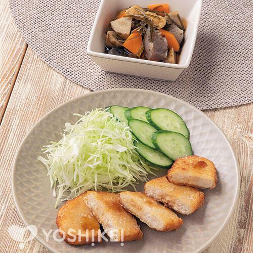 カジキマグロ香味揚げ/刻み昆布と根菜の煮もの
