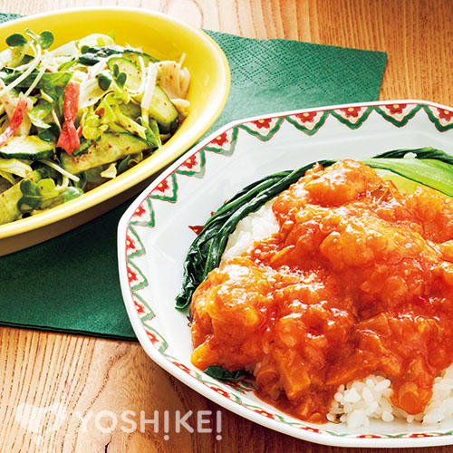 えびチリ丼/レタスのごまポンサラダ