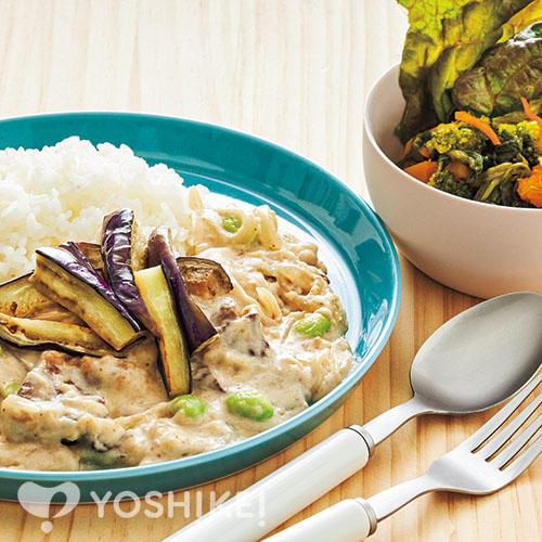 夏のホワイトビーフストロガノフ/緑黄色野菜のサラダ