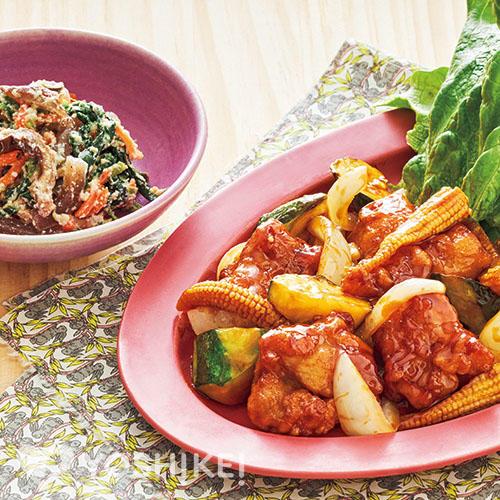 鶏唐と野菜の黒酢炒め/ほうれん草の白あえ