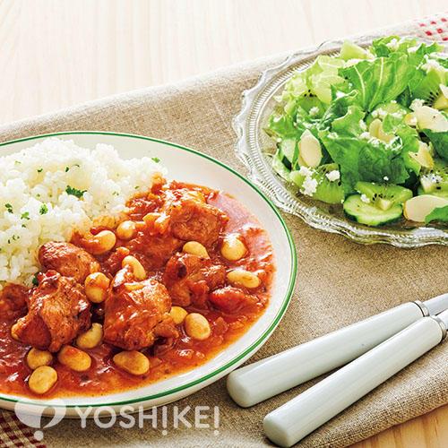 チキンとお豆のトマトソース煮/カッテージチーズのフルーツサラダ