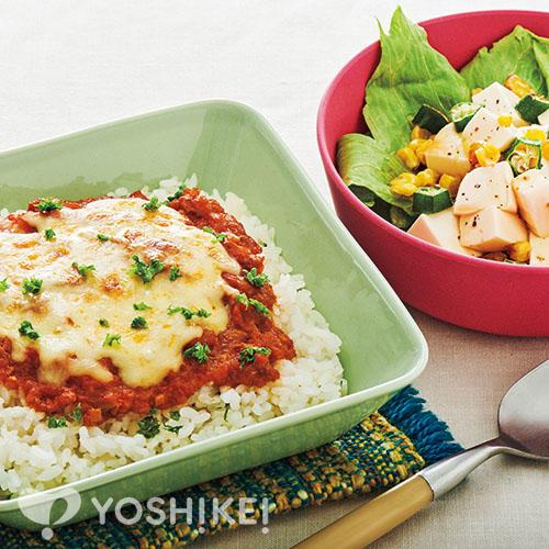 かんたんミートドリア/焼きコーンと豆腐のサラダ