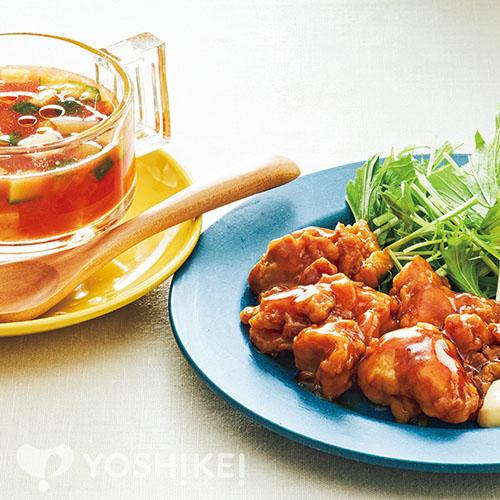 チキン南蛮/ガスパチョ風スープ