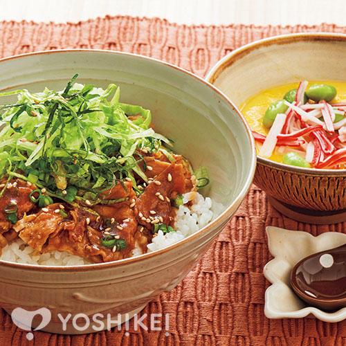 薬味と食べるポークジンジャー丼/手作り卵豆腐