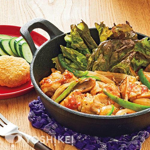 カチャトーラ(鶏肉のトマトソース煮)/コーンクリームコロッケ
