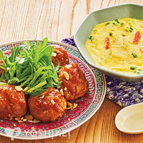 大きな豆腐肉団子/レンジ中華茶わん蒸し