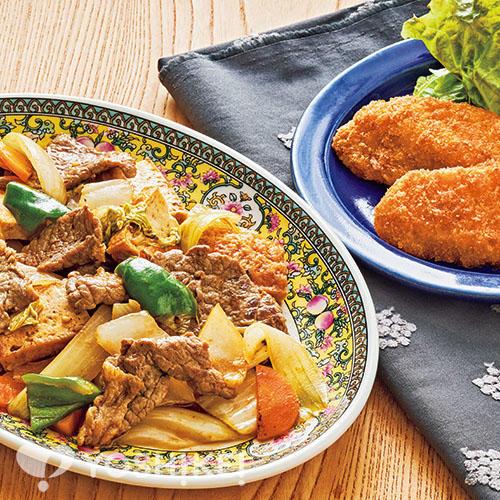 牛肉と生揚げのXO醤炒め/白身魚フライ