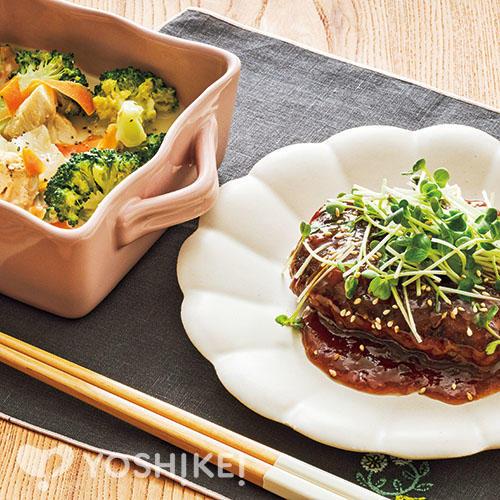 レンジ和風ハンバーグ/鶏肉と白菜の豆乳クリーム煮