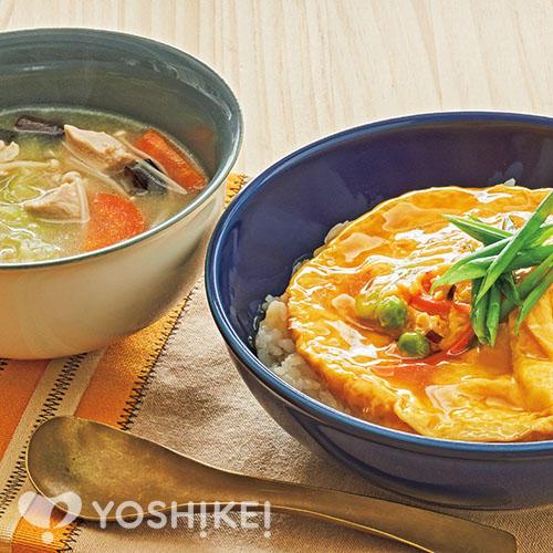 天津飯/鶏五目白湯スープ