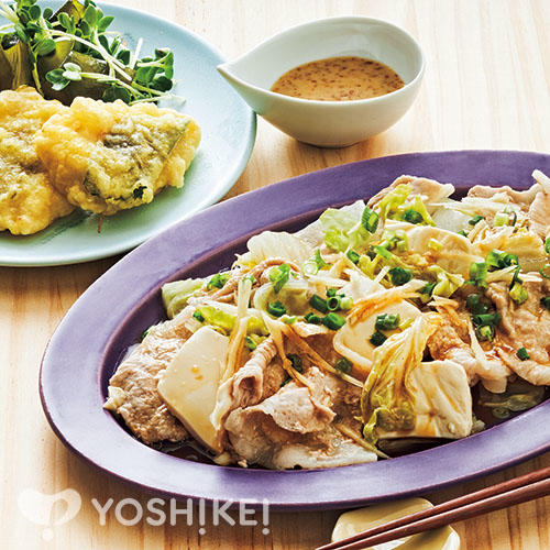 薬味と食べる蒸ししゃぶ/鶏の梅しそ天ぷら