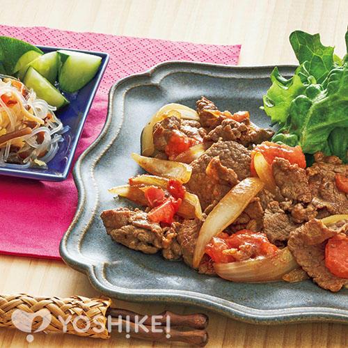 牛肉とトマトのオイスターソース炒め/春雨サラダ