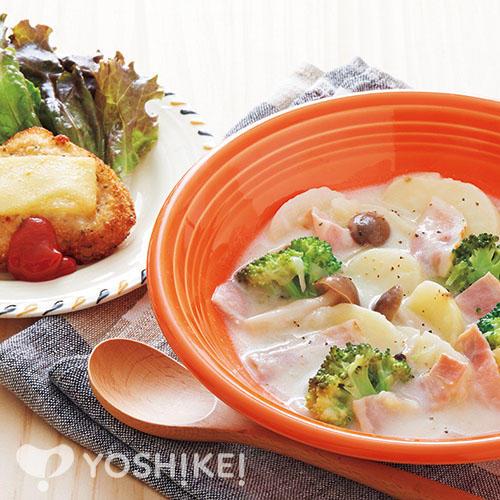 ベーコンとポテトのチャウダー/チキンのオーブン焼き