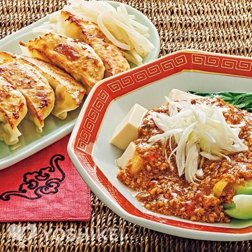 Lovyuの中華肉みそで作る麻婆豆腐/レンジ焼き餃子