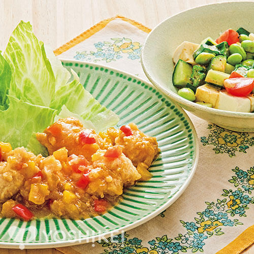 鶏のから揚げねぎソース/5品目のサラダ