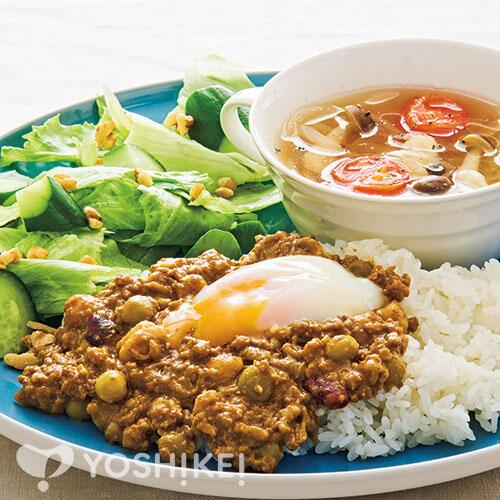 とろ~り卵のLovyuビーンズドライカレー/コンソメスープ