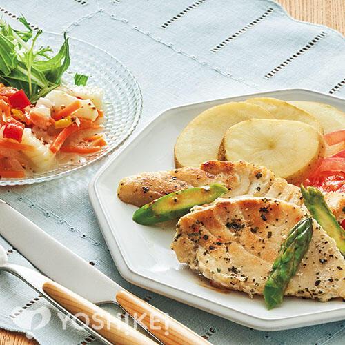かじきのバジルソテー/イカと野菜のマリネ~マスタード風味~