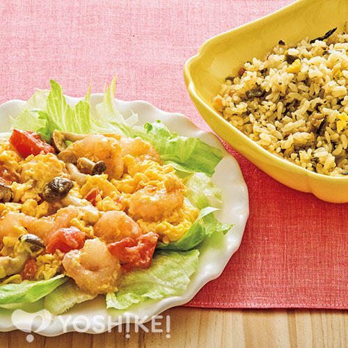 えびとトマトのふんわり卵炒め/高菜チャーハン