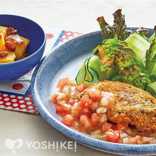 あじの香草パン粉焼き~ラビゴットソース~/さつま芋のレーズン煮