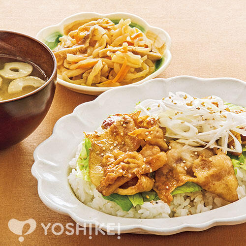 野菜と食べる豚蒲焼きごはん/切干大根煮/おみそ汁