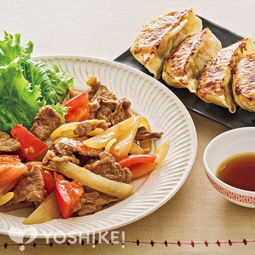 牛肉とトマトのオイスターソース炒め/レンジ焼き餃子