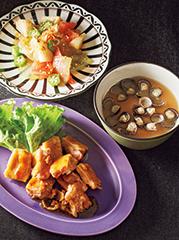 レンジで照り焼きチキン/ねばとろサラダ/しじみ汁