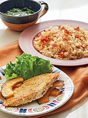 めかじきのハーブパン粉グリル/ミニトマトのピラフ/コンソメスープ
