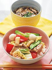 中華丼/3種のきのこスープ