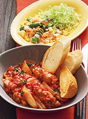 豚肉ロールのトマト煮込み/アスパラのミモザサラダ