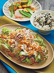 豚しゃぶの香味サラダ/春の塩炒め/ひじきごはん