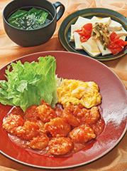 エビチリ/ザーサイ豆腐/チンゲン菜のスープ