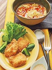 チキンカツ~ハニーマスタードソース~/アボカドのトマトスープ