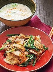 プルコギ/えびと春雨の豆乳スープ