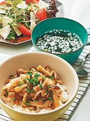 豚カルビ丼/チョレギサラダ/わかめスープ