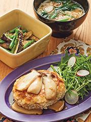 豆腐ハンバーグ/いんげんとなすの中華風ごまあえ/温麺(ウーメン)