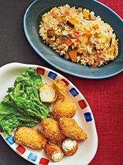 豚肉のクリームチーズロール&小玉葱フライ/かぼちゃと根菜のピラフ