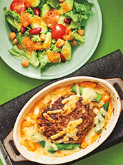 ハンバーグのチーズソースグラタン/人参ドレッシングのサラダ