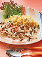 豚肉のトマトクリーム煮/キャロットライス