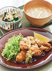 鶏肉のから揚げ葱塩だれ/ほうれん草のアーモンドあえ/えのきのみそ汁