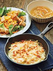 ドフィノワ/グラハムクルトンのエッグサラダ/コンソメスープ