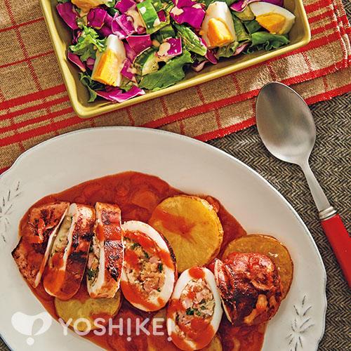 いかのトマト煮込み/チョップドサラダ