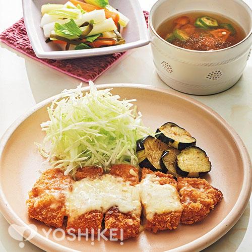 チーズ豚カツ/和風ピクルス/なめことオクラのスープ