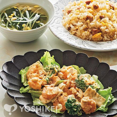プリプリ海老マヨ/焼豚チャーハン/豆もやしのスープ