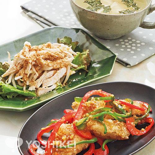 白身魚の青椒(チンジャオ)風炒め/蒸し鶏のサラダ/くずし豆腐とのりのスープ